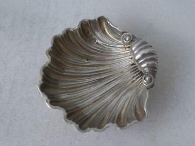 Antique Victorian Chester 1898 Solid Silver Shell Shaped Salt Pot/ L 5.5 cm