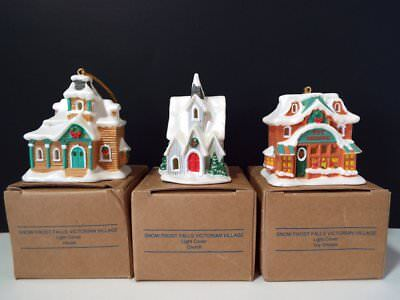 3 Avon SNOW FROST FALL VICTORIAN VILLAGE Light Cover CHURCH HOME TOY SHOPPE