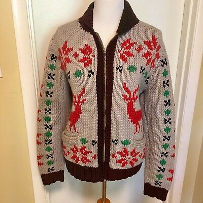 Cowichan Vintage Sweater 50s 60s Knit Deer Motif LightIng Zipper Shawl Mens S NR