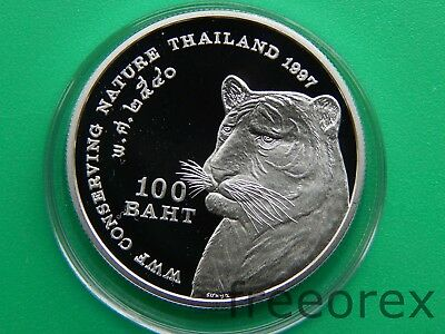 Thailand 1997 100 baht Tiger Silver Proof