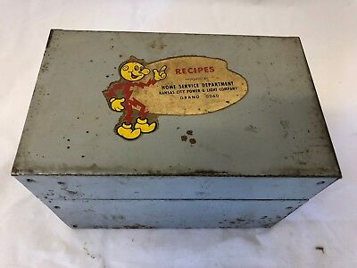 Reddy kilowatt Metal Recipe Box Kansas City Power & Light Company Rare W/ RECIPE