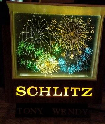 Vintage Rare Schlitz Lighted Motion Fireworks scenes