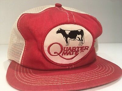 Vintage QUARTER MATE Denim Mesh Snapback Trucker Hat PATCH Dairy Seed Feed Corn