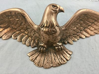 Vintage Copper Metal Flying Eagle Plaque Wall Hanging 20 inch Wingspan