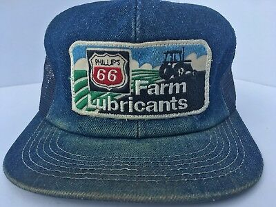 Vintage PHILIPS 66 FARM LUBRICANTS Denim Snapback Trucker Hat K PRODUCTS USA