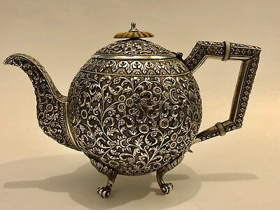 EXQUISITE ANTIQUE CHASED ISLAMIC PERSIAN INDIAN KUTCH SOLID SILVER TEAPOT 618g
