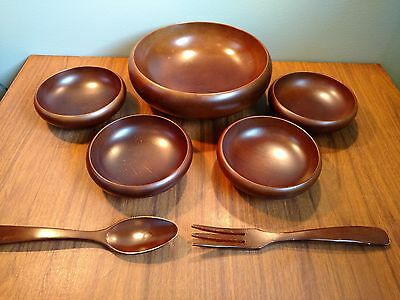 Vintage Hard Wood Salad Bowls Set Mid Century Hand Carved Japan Teak?