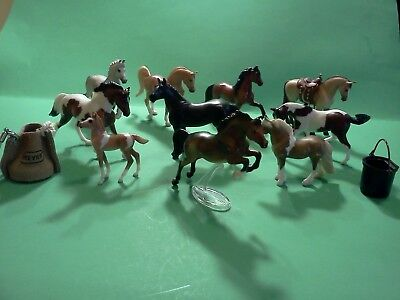 Vintage Breyer Stablemates (10 in all) w/ Feed  Bag- Bucket and Saddle