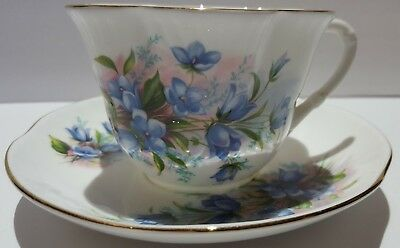 Crown Staffordshire England Scalloped Teacup And Saucer Blue Flowers Pink Green