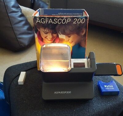 Agfascop 200 Slide Viewer Excellent Condition Boxed with European plug + adaptor