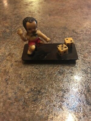 Vintage Japan Celluloid Black Boy Playing Dice Rolling Craps Figure Americana