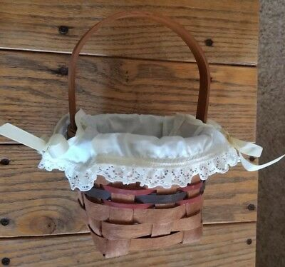 "Longaberger 1989 INAUGURAL Basket, FIRST IN Series with laced liner 9"" tall"