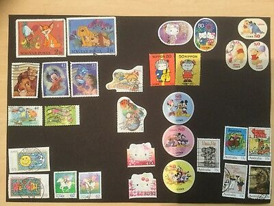 28 Cartoon And Disney Themed World Stamps / No Duplicates / Part And Full Sets