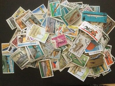 50 Transportation Themed World Stamps / No Duplicates / Trains,cars,planes,boats