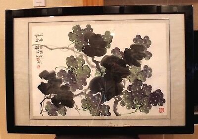 "Chinese Grape Vine Silk Watercolor Painting Red Stamp Seal Signed 32"" x 21"" VTG"