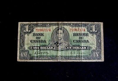 Bank O F Canada 1937 One Dollar Note,  Gordon & Towers,  Very Good To Fine