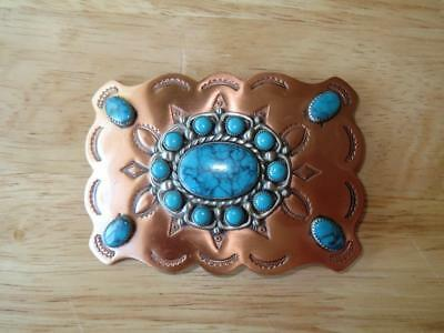 Genuine BELL Trading Post Solid Copper & German Silver South Western Belt Buckle