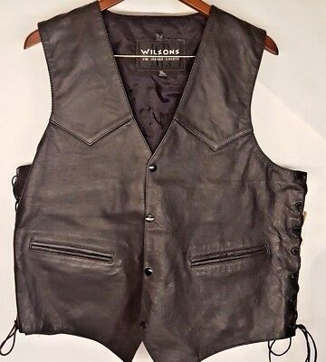 Men's Leather Motorcycle Vest Size Extra Large Black New Wilsons