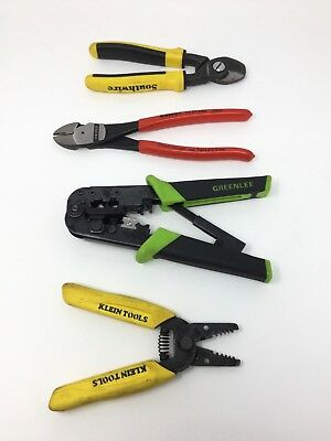 Lot of 4 Electrician Tools Shears Strippers - Knipex/Southwire/Greenlee/Klein