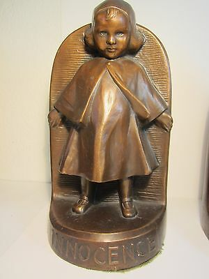 "Vtg Bronze Clad Jennings Brothers ""innocence"" Bookends Stickley / Roycroft Era"