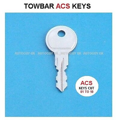 2 X Towbar Keys Cut To Code ( Acs01 To Acs10 )  Witter ( Tr01 To Tr10 ) Acs Keys