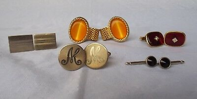 Estate Lot of 5 Vintage/Retro Men's Cuff Links Silver and Goldtone