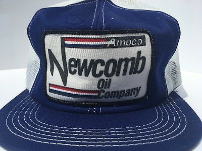 Vintage AMOCO Newcomb OIL CO Mesh SnapBack Trucker Hat Patch K PRODUCTS USA Gas