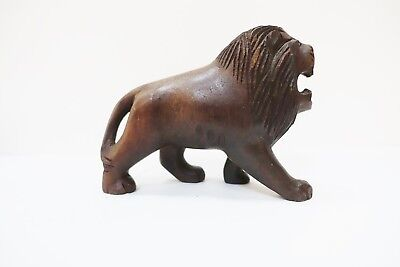 Tav109 Carved Wooden Lion Figurine 6 Inches Long