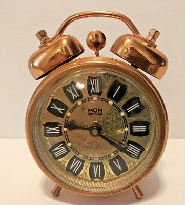 Vintage Rare MOM Twin Bell Copper Wind Up Alarm Clock-Made In Hungary