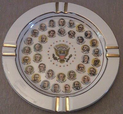 ggg215 PRESIDENTIAL MEMORABILIA SOUVENIR LBJ & PRESIDENTS ASHTRAY