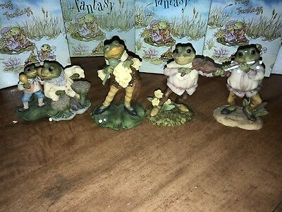 Lot of four (4) Frog Fantasy Figurines Westland (Flute, Violin, Singer, Drums)