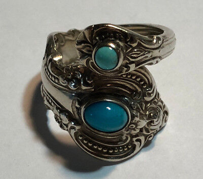Antique Towle 1964 Sterling Silver Spoon Ring with Turquoise Stones