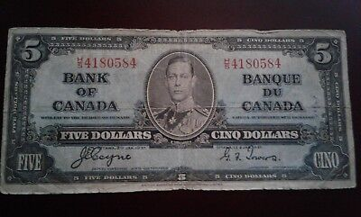 1937 Bank of Canada $5 Bank Note