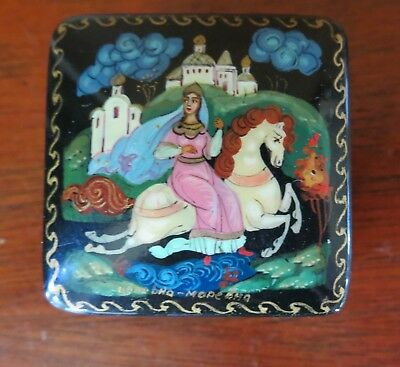 Russian/USSR Lacquer Fairy Tale Hinged Pill Box