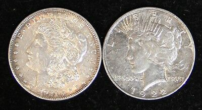Two (2) Polished Morgan/Peace Silver Dollars: 1921 & 1922-D 90% Cleaned