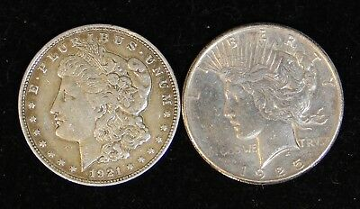 Two (2) Polished Morgan/Peace Silver Dollars: 1921-D & 1925 90% Cleaned