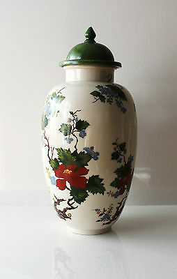 Vintage Red Green Blue Yellow Ivory Color Vase Jar with Lid