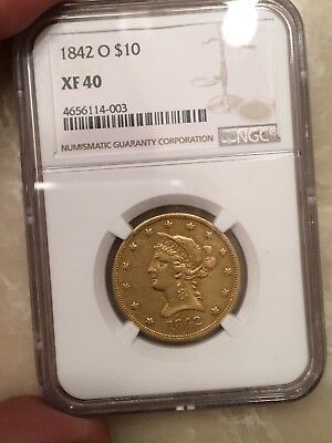 1842 O $10 NGC XF40 Gorgeous Original Color Rare New Orleans Gold Eagle