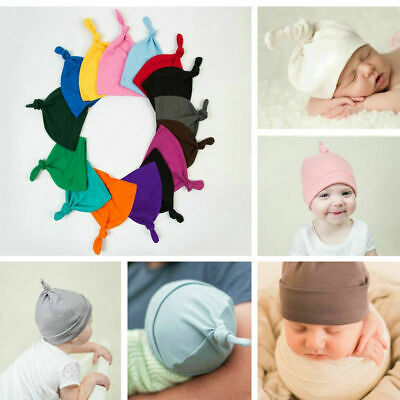 Cute Newborn Baby Knotted Hats Soft Cotton Warm Infant Elastic Caps 0-6 Months