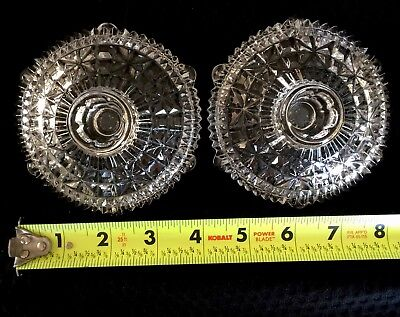 "Pair Of Vintage Antique Glass Candle Holders ""Stars And Bars"""