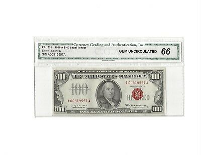 1966A $100 One Hundred Dollar Legal Tender Elston-Kennedy Excellent Condition