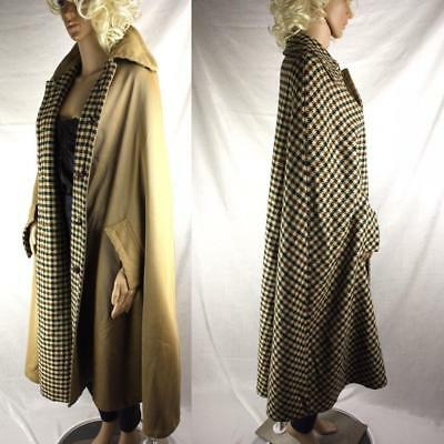 Vintage Check Plaid REVERSIBLE Wool Cape Tan Green Brown Ivory Leather Buttons