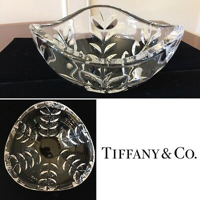 "Authentic Signed TIFFANY & CO. 6.5"" Crystal Glass Leaf Decorative Display Bowl"