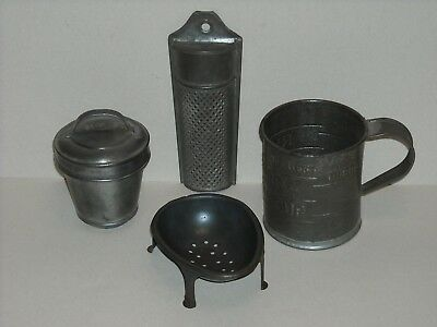 Vintage Tinware,Rumford Measuring Cup,Grate,Spoon Rest,G.M.T.& Bro. Canister,Lot