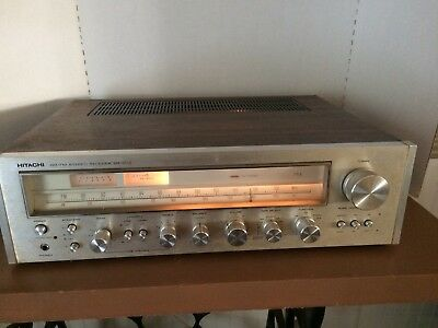 Vintage Hitachi SR-803 Stereo Receiver Silver Faced 230 Watt Working Wooden Case