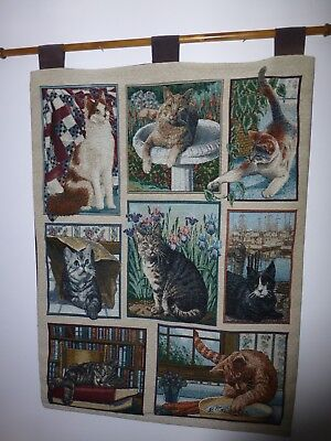 """LARGE CAT AND KITTEN TAPESTRY WALL HANGING 36"""" LONG x 26"""" WIDE MADE IN USA"""