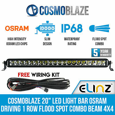 22inch CREE LED Light Bar Single Row 5D Lens Dual Mount Flood Spot 600M LUX 22""