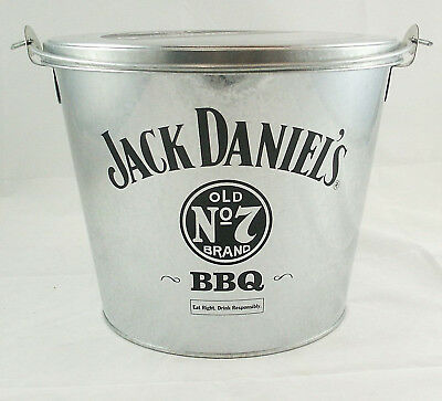 Jack Daniels BBQ Bucket & Lid / 64oz. Metal Souvenir Advertising Bucket / Pail