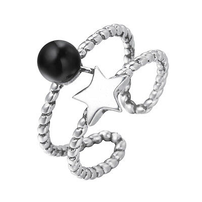 925 Silver Ring with Star Ball Vintage Ladies Open Rings for Women Party Jewelry