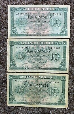 BELGIUM 10 FRANCS=2 BELGAS 1943  VF-XF  PICK #122  WWII BANKNOTE   LOT of 3